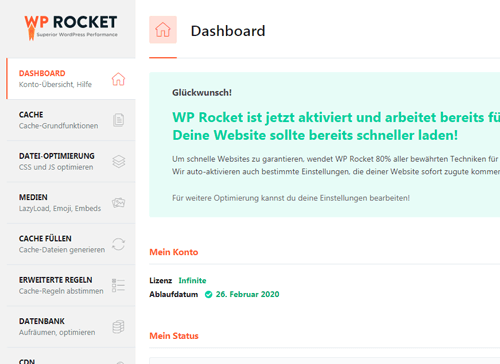 WordPress Ladezeit WP Rocket